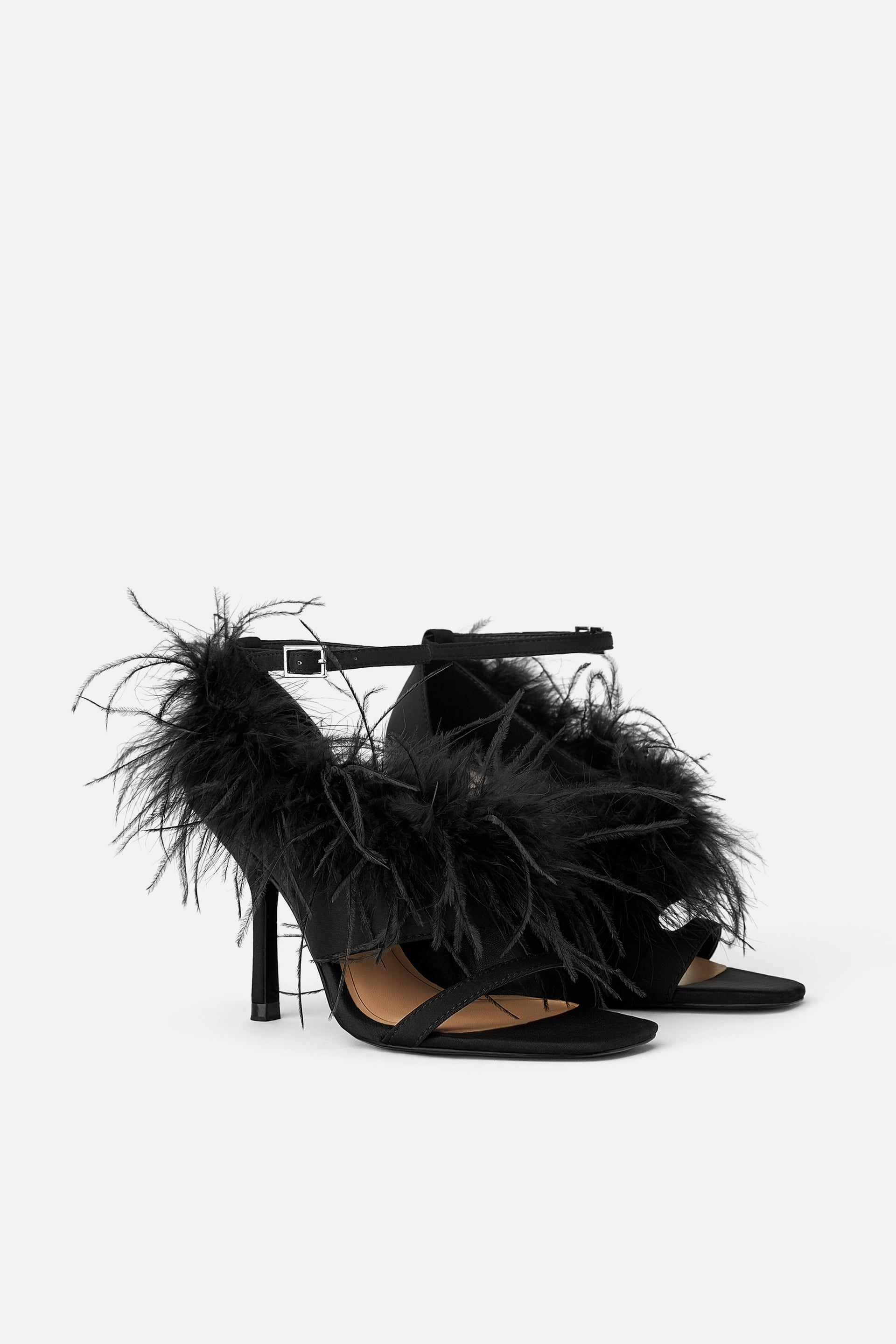so cheap order online in stock Feather sandals | Black high heel sandals, Feather, Black high heels