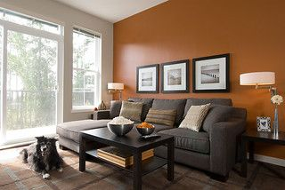 Burnt Orange Living Room Wall With Our Black Couch