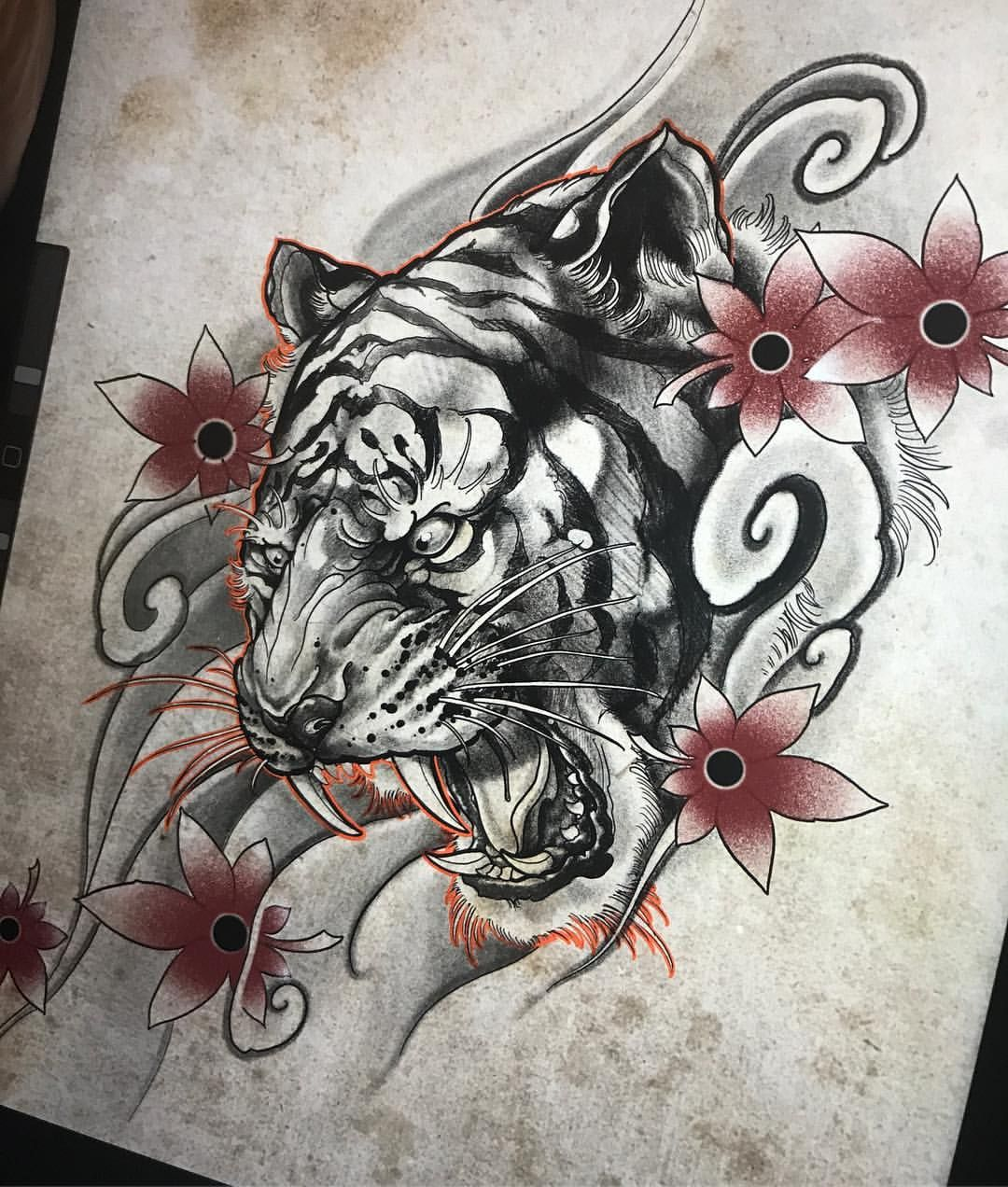 Neojapanese Tiger Tiger Tattoo Design Japanese Tattoo Tattoo Japanese Style