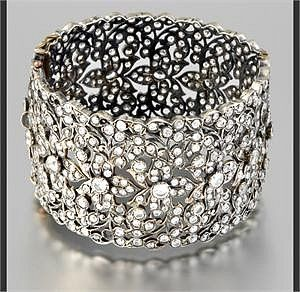 TEJANI ANTIQUE SILVER AND CRYSTAL CUFF