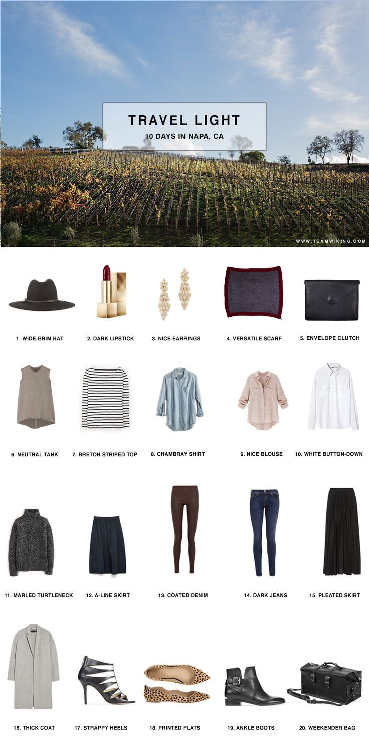 Here's your shopping/packing list for your trip to Napa Valley!  Don't forget to visit The Hess Collection for a food and wine pairing and tour of the art collection!