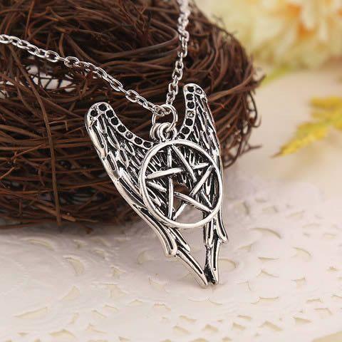 Supernatural Dean Winchester AMULET Castiel Wings Pentagram Necklaces US Seller