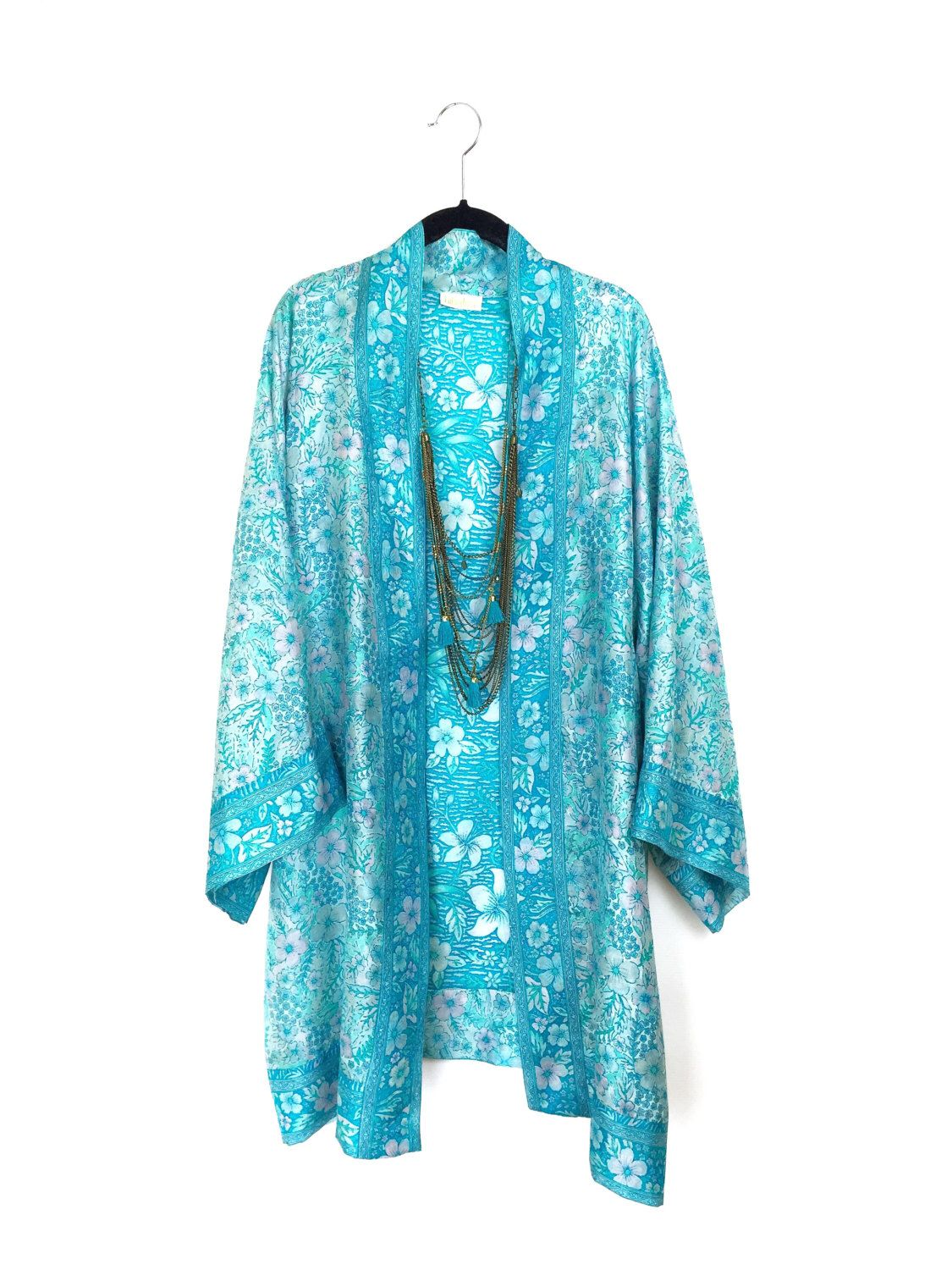 Silk Kimono jacket oversized style, in light turquoise blue,with ...