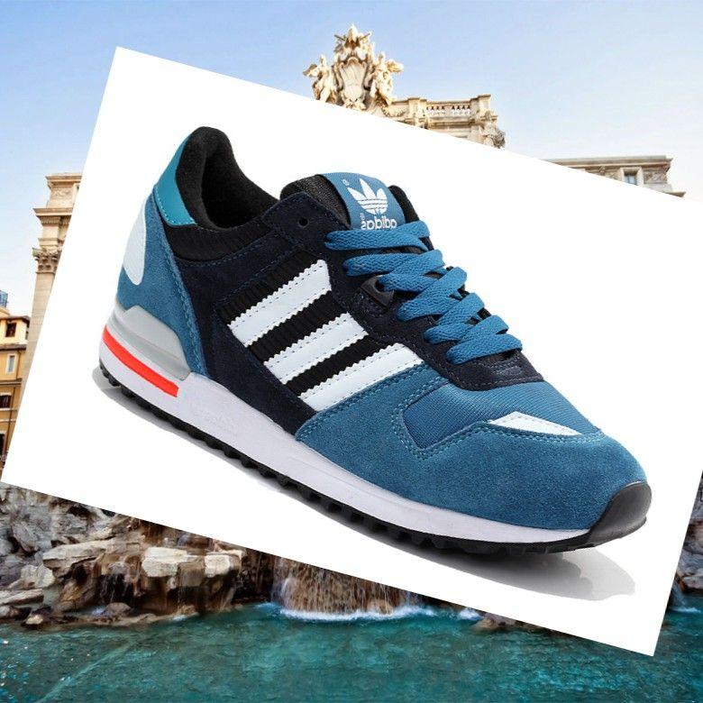 formazione scarpe da donna, adidas zx 700 scamosciato blu / bianco / nero