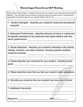 Parent Input For Iep Meetings Form Freebie SoEtching For My New