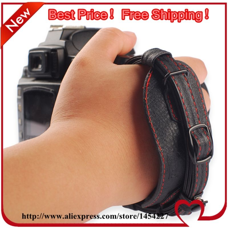 10% off Free shipping Classic Black Leather Camera Hand Grip Straps