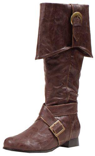 : Men's 1 Inch Heel Knee High Pirate With Buckle