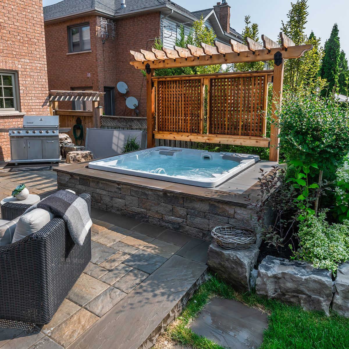 Hot Tub With Stone Wall Hot Tub Patio Hot Tub Outdoor Hot Tub Landscaping