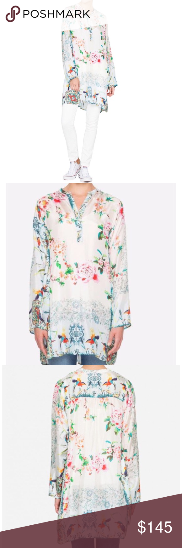 3f78113558a0f Johnny Was Frica Long Silk Floral Tunic Top Beautiful print and the highest  quality silk. Brand new w tag. Johnny Was Tops Tunics