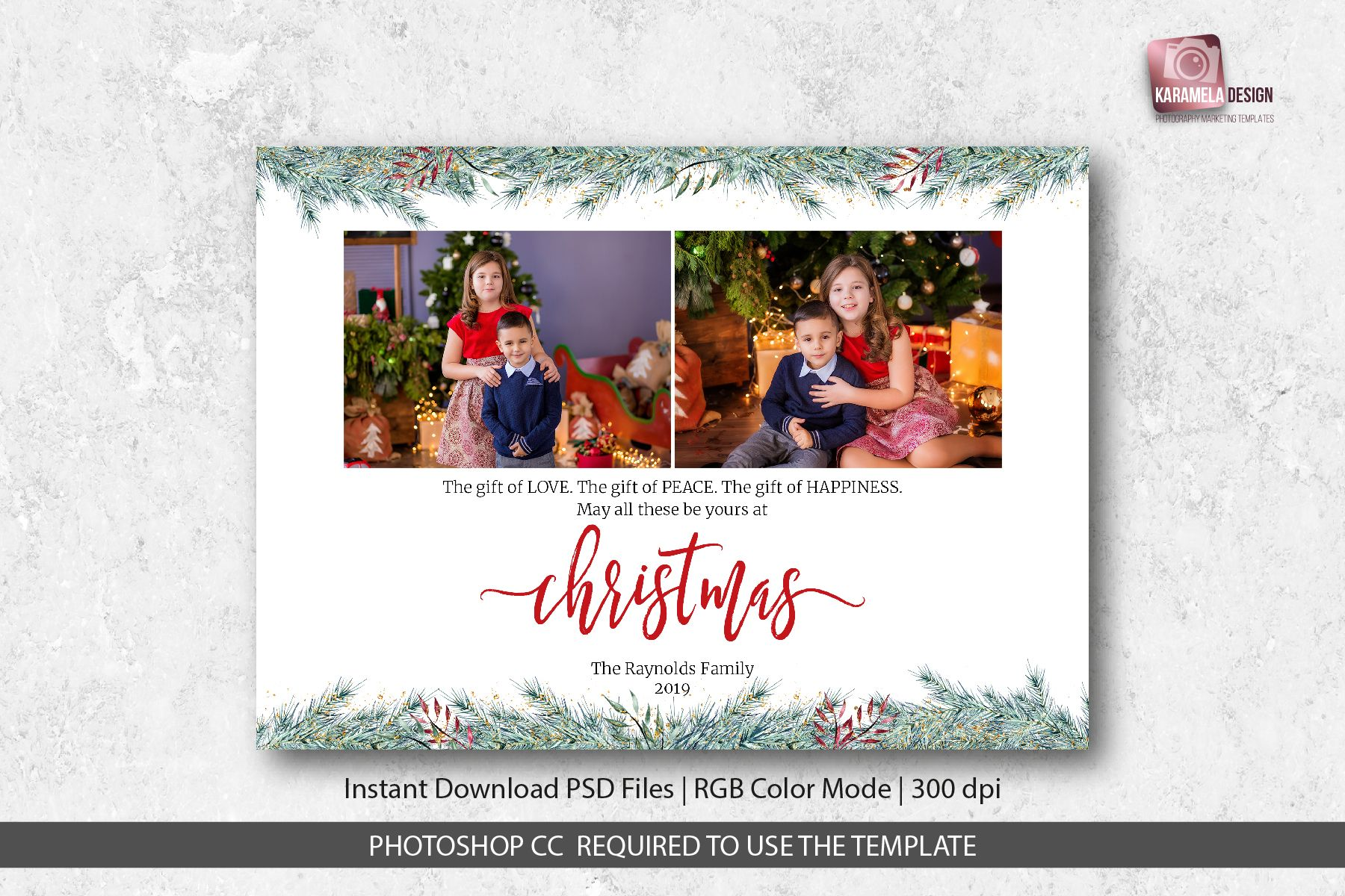 Christmas Card Template For Photographers Intended For Christmas Photo Ca In 2020 Photoshop Christmas Card Template Christmas Photo Card Template Holiday Card Template