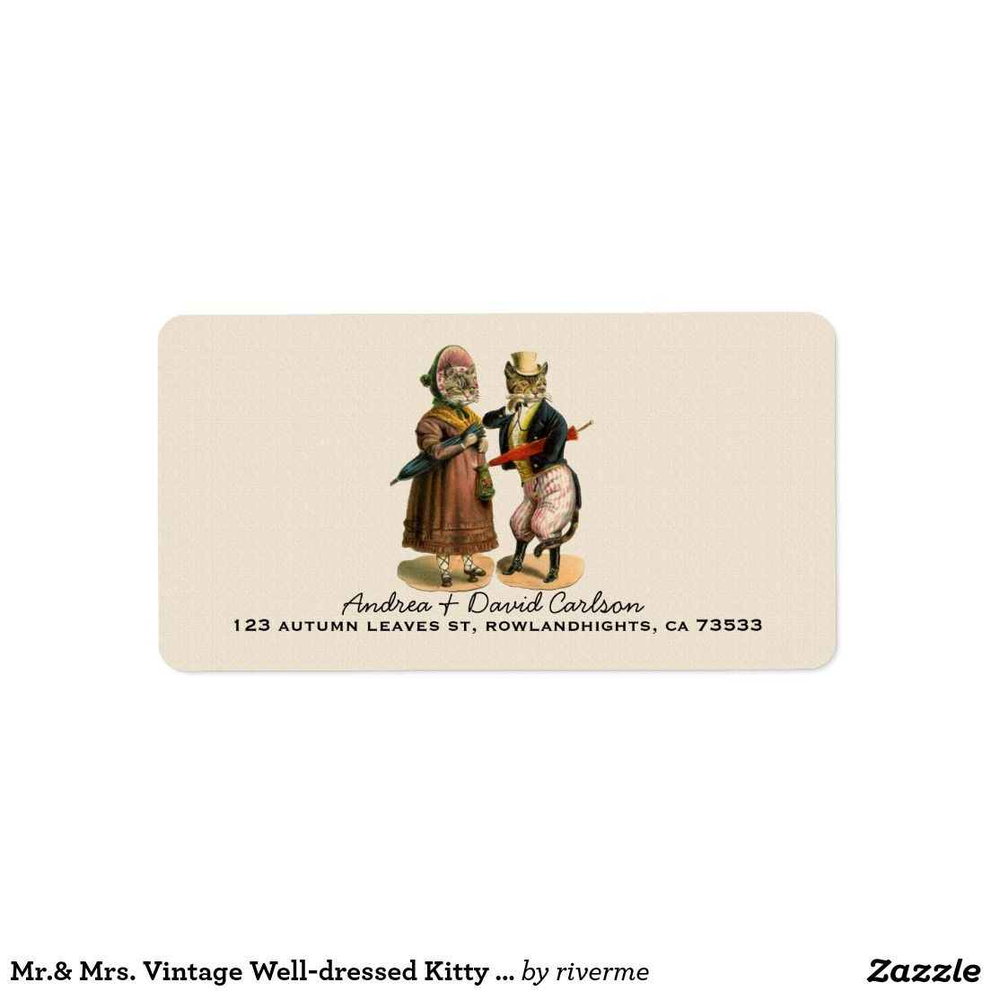 Mr.& Mrs. Vintage Well-dressed Kitty Cat Label