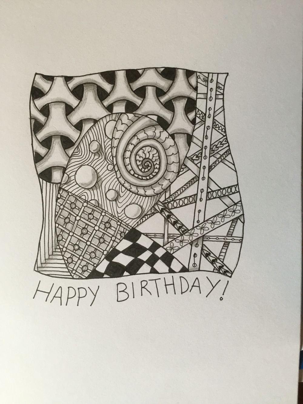 Zentangle Birthday Card Zentangles Pinterest Zentangles And