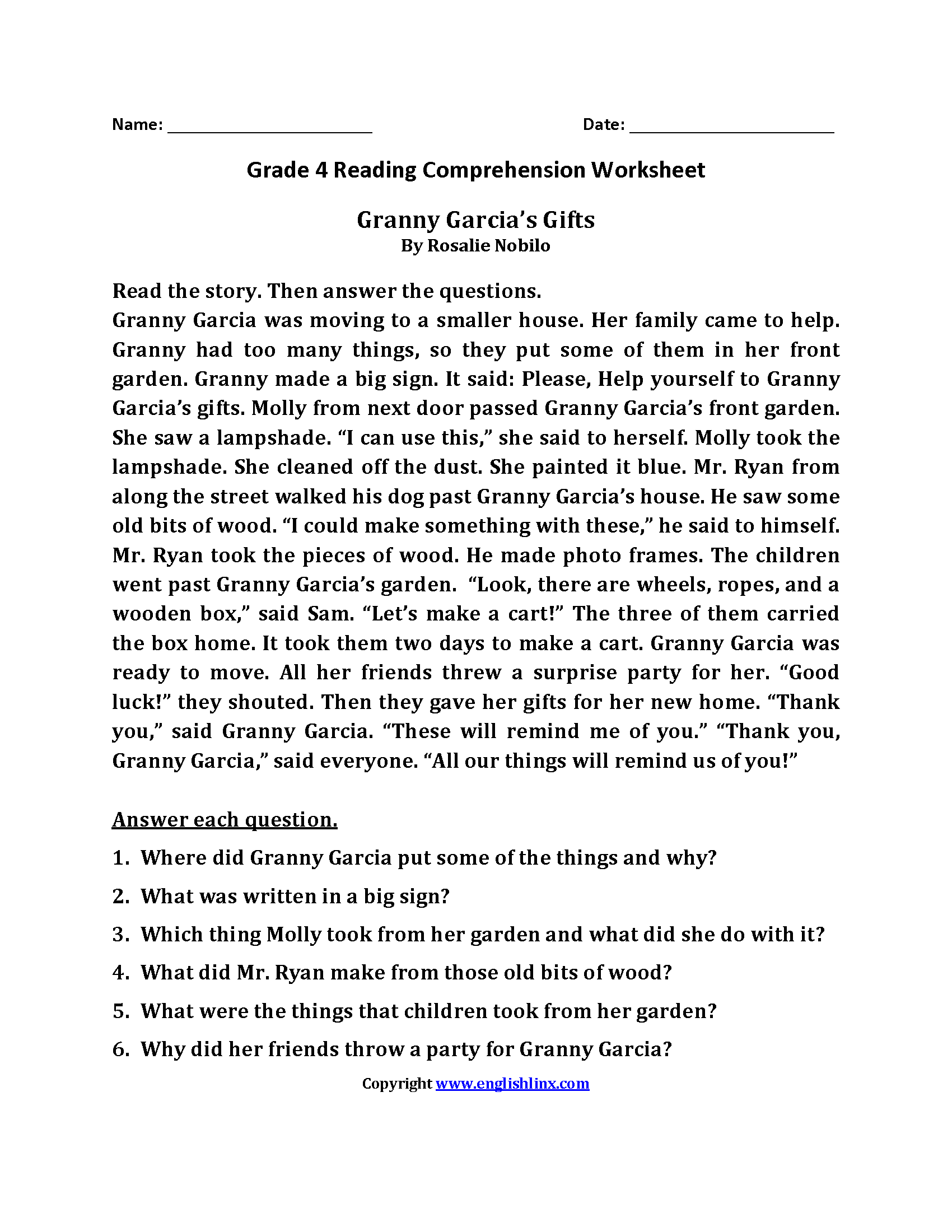 Reading Worksheets   Fourth Grade Reading Worksheets   4th grade reading  worksheets [ 2200 x 1700 Pixel ]