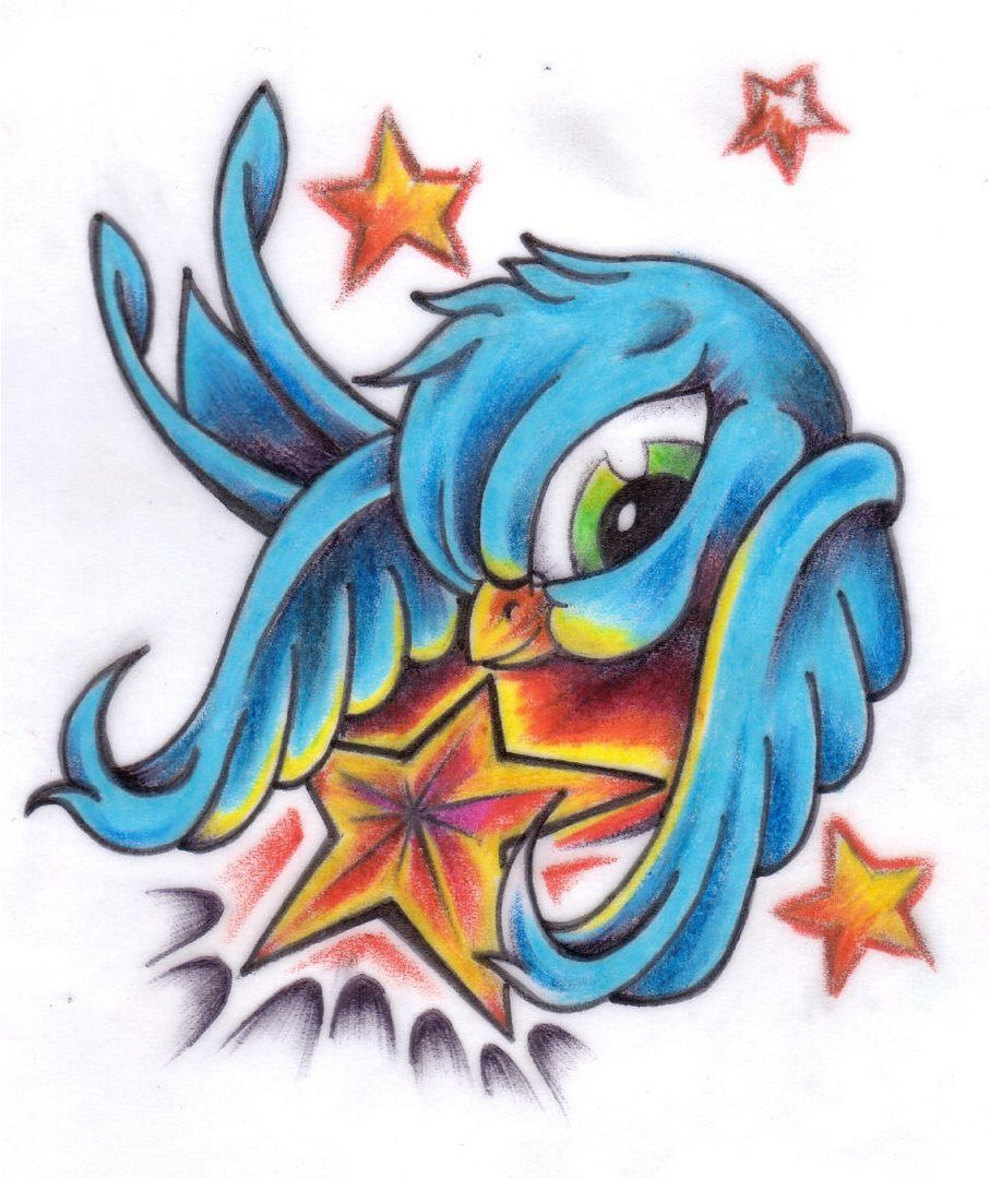 New school tattoo design - New School Tattoo Flash New School Tattoo Flash 11swallow And Star