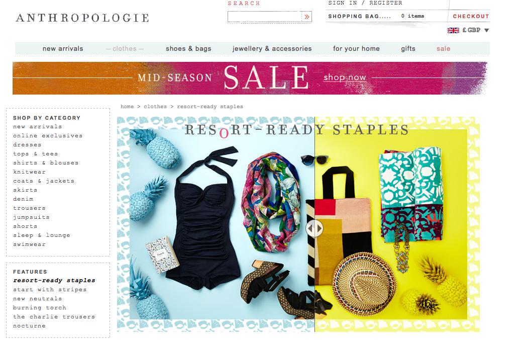 Anthropologie Fashion Email Design