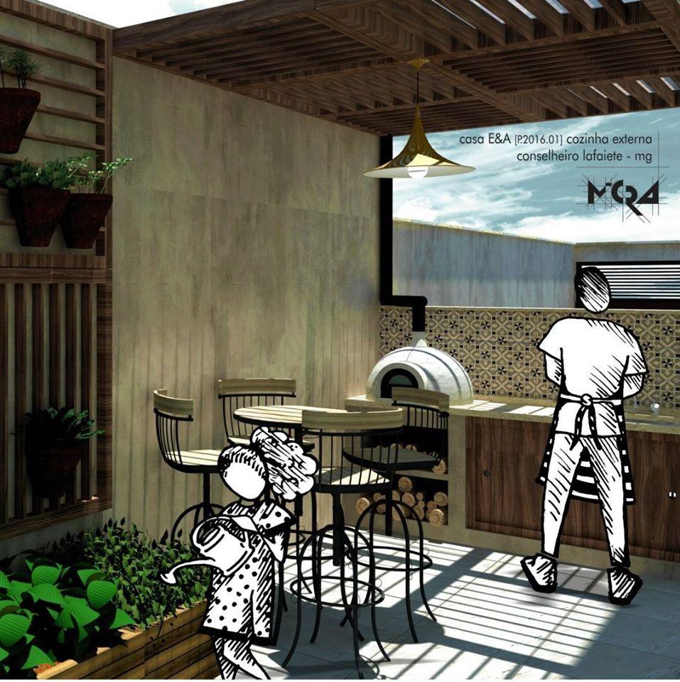 Casa EA. Projeto cozinha externa e horta. Conselheiro