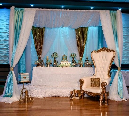 Golden-Glamorous-Prince-Baby-Shower-Treat-Table