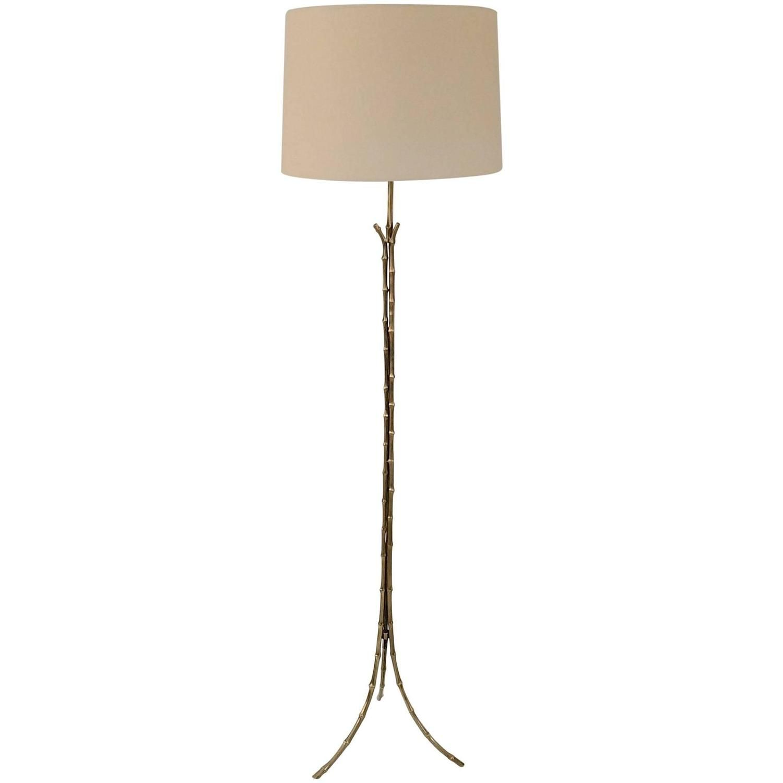 Brass Tripode Faux Bamboo Floor Lamp France Circa 1960 Floor