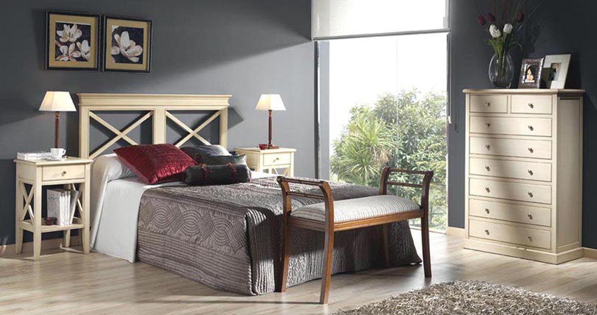 Dormitorio moderno con cabecero aspas haya muebles de for Muebles habitaciones matrimonio