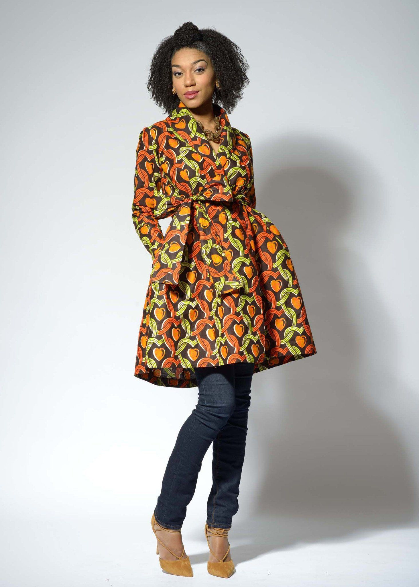 b3d62966c1 Kemi African Print Wrap Dress/Jacket (Brown/Green/Orange) | African ...