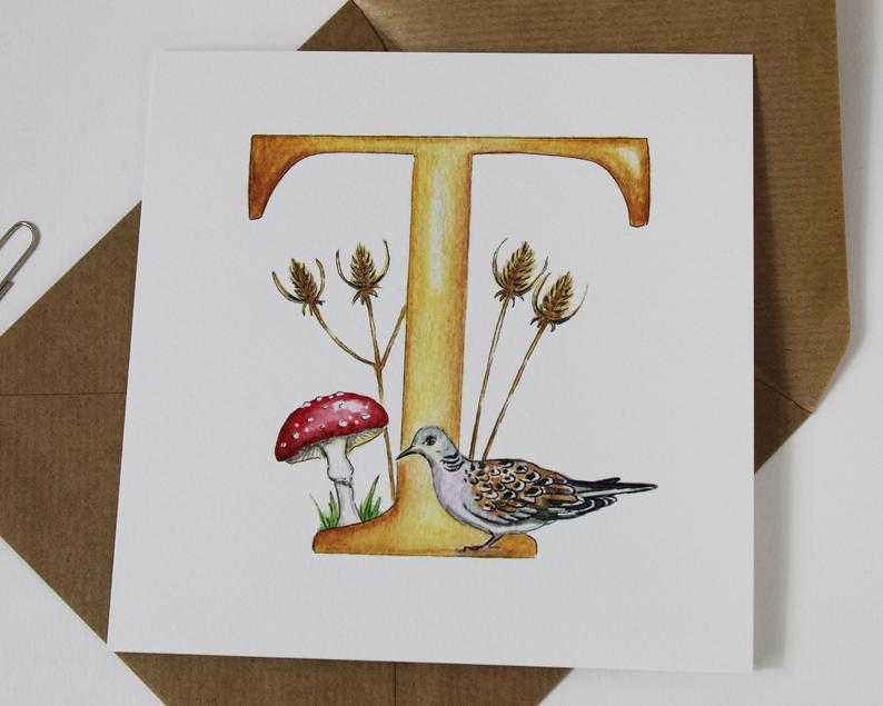 letter t monogram greeting card  initials monograms