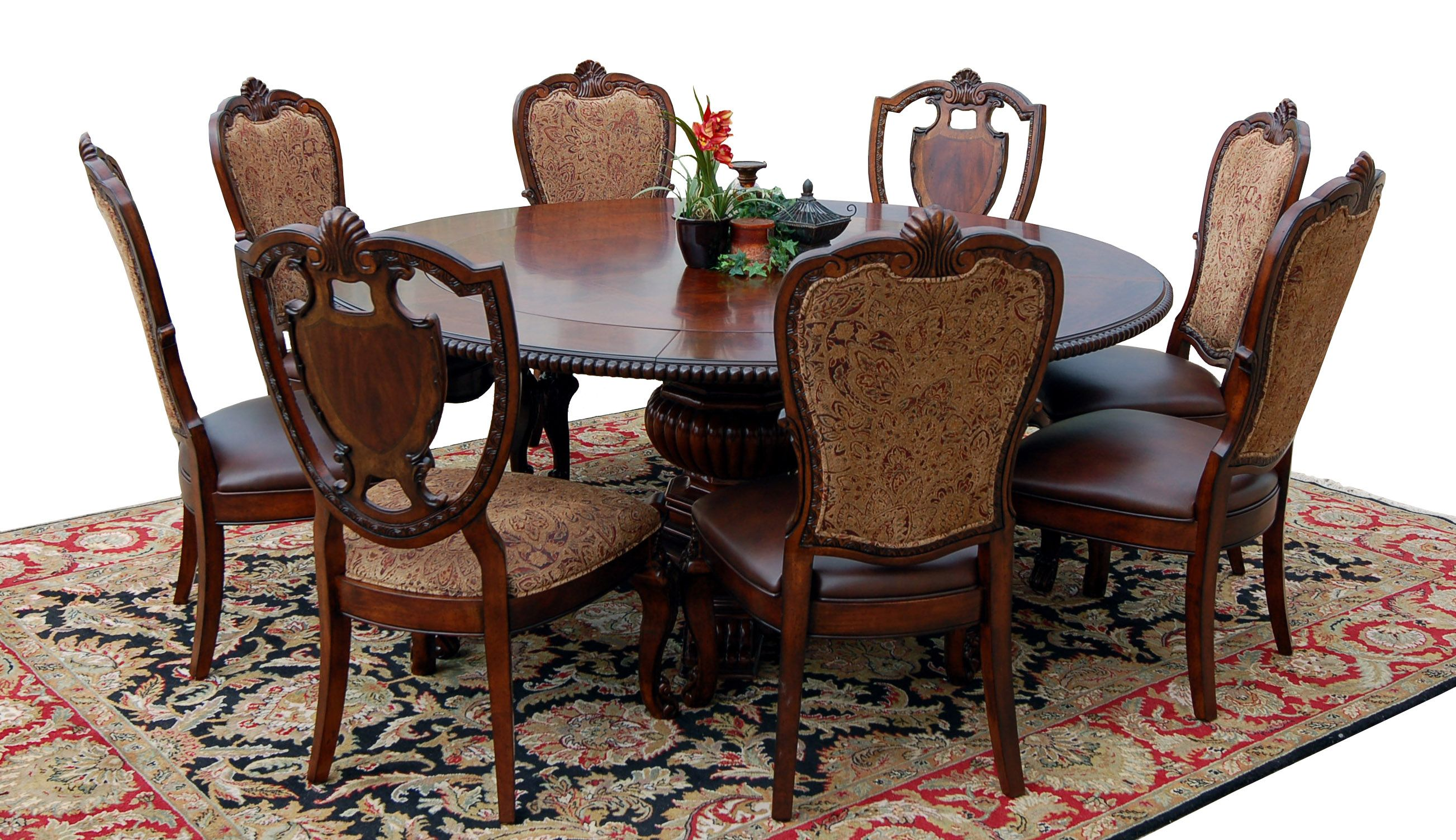 Perfect 9 Piece Old World Mahogany Dining Set