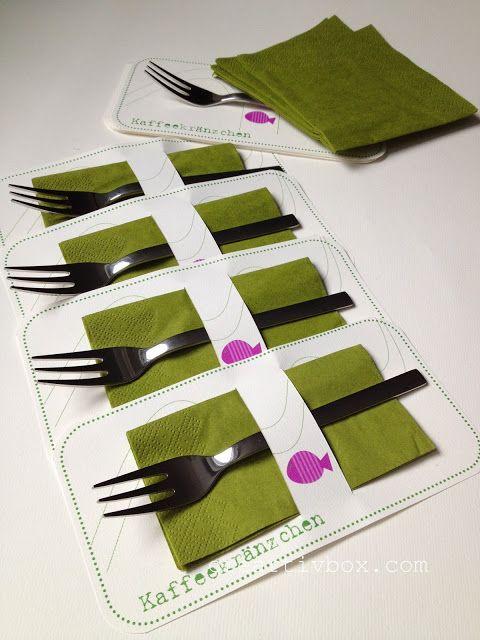 Kaffeekr nzchen in papier deko pinterest for Tisch design servietten