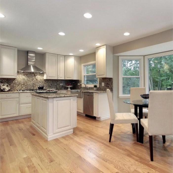 Download Wallpaper White Kitchen Red Oak Floors