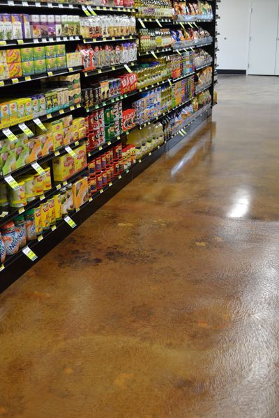 Stained Concrete Grocery Store Floor For Denver Market Decorative Concrete Floors Concrete Decor Stained Concrete