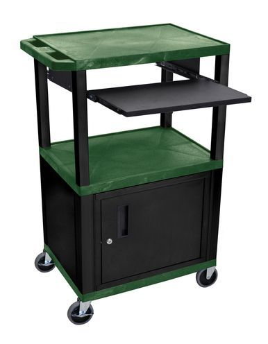 H Wilson Multipurpose Rolling Multimedia Presentation Av Cart Black Lockable Storage Cabinet Pull Out Tray Hunter Green Products Pinterest