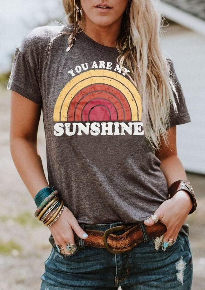 83a7732f0912 Women s T-Shirt Short Sleeve You Are My Sunshine Rainbow Print – Bohemian  Moon Boutique