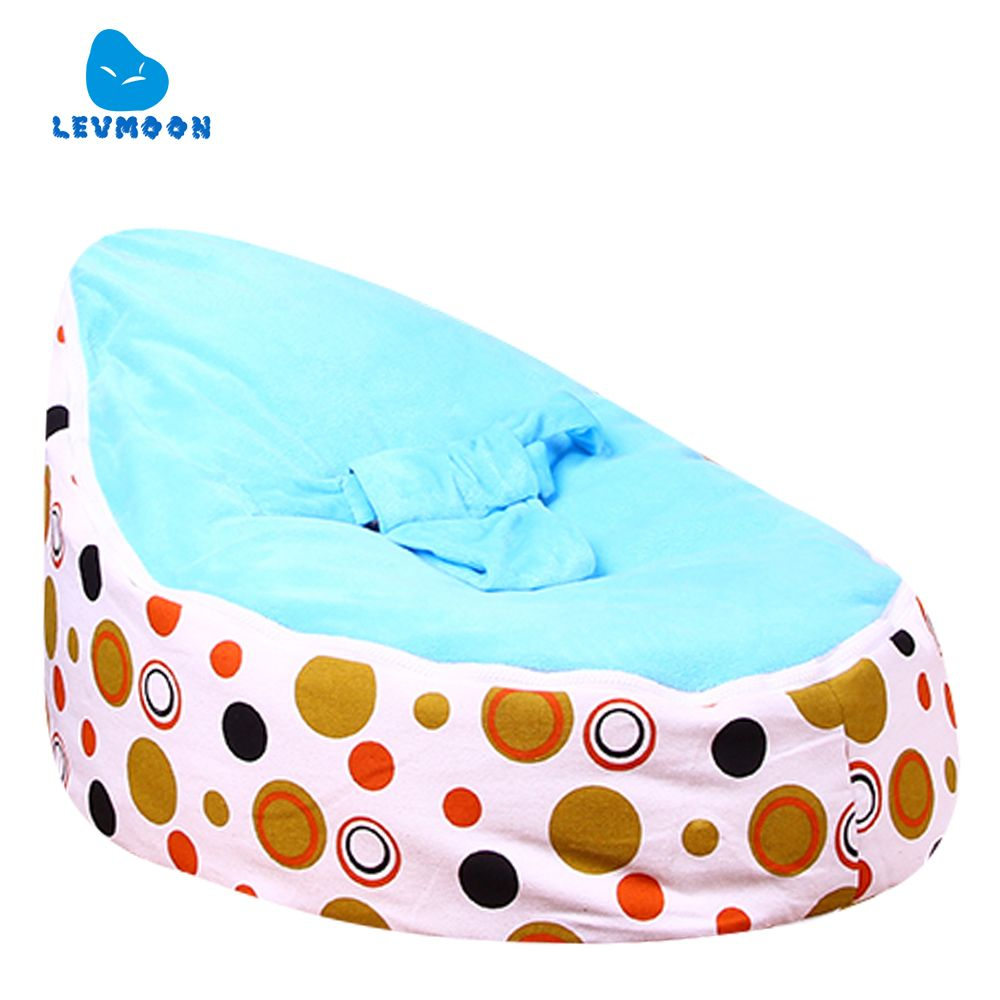 Levmoon Medium Brown Circle Print Bean Bag Chair Kids Bed For Sleeping Portable Folding Child Seat