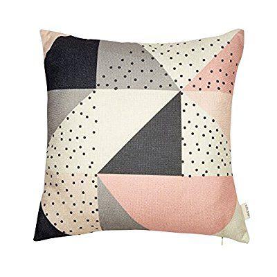 Fjfz Cotton Linen Home Decorative Throw Pillow Case Cushion Cover For Sofa Couch Modern Geometric Pattern Color Throw Pillows Decorative Throw Pillows Pillows