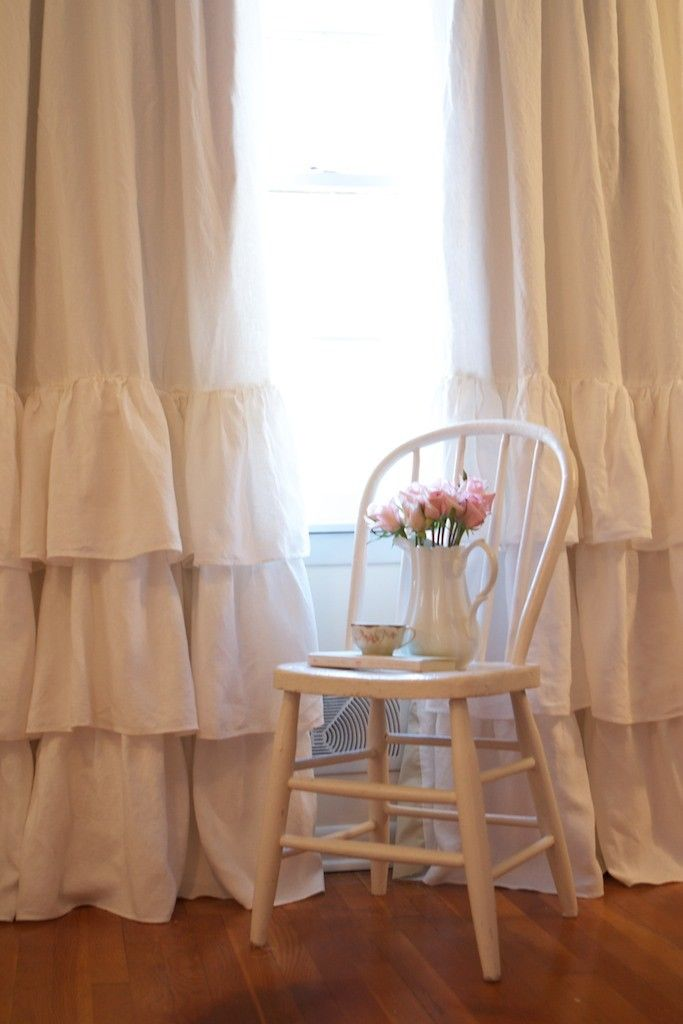 Cream Ruffled Linen Curtains 0 Ruffled linens on Etsy! country