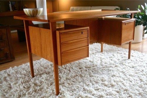 Vintage Mid Century Danish Modern Lovig Dansk Design Teak Floating Desk Denmark