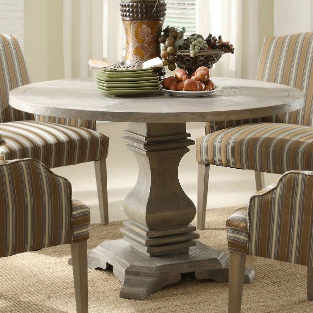 Exceptional Homelegance Euro Casual Round Pedestal Dining Table In Rustic Weathered Awesome Ideas