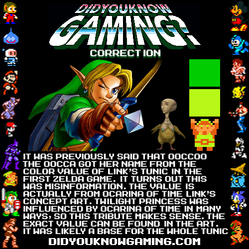 The Legend of Zelda: Ocarina of Time. This is a correction of an older post that can be found here, based on our own research. It was meant to be updated a while ago, but I was recently reminded by a comment in the latest episode of Game Grumps:http://www.youtube.com/watch?v=SY481N-K79w