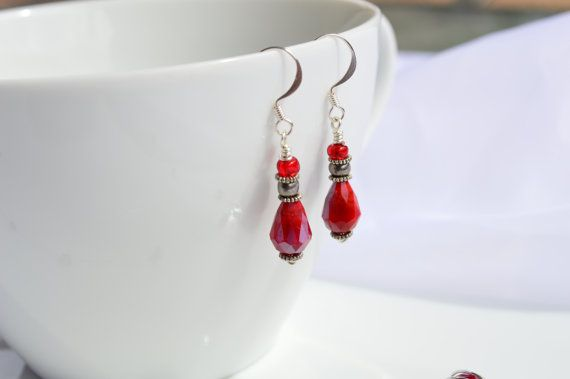Red Faceted Teardrop Glass Earrings Red Crystal by ZabeliDesigns