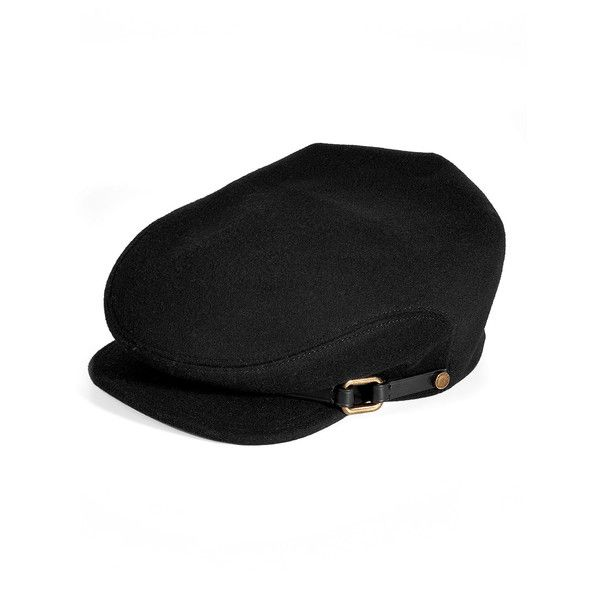 BURBERRY LONDON Black Tilde Wool Cap ( 280) ❤ liked on Polyvore featuring  accessories fda98ec2de2