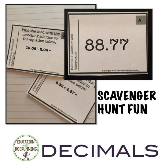 Scavenger hunt makes decimal addition and subtraction practice fun.  My students were surprised when it was time to go.