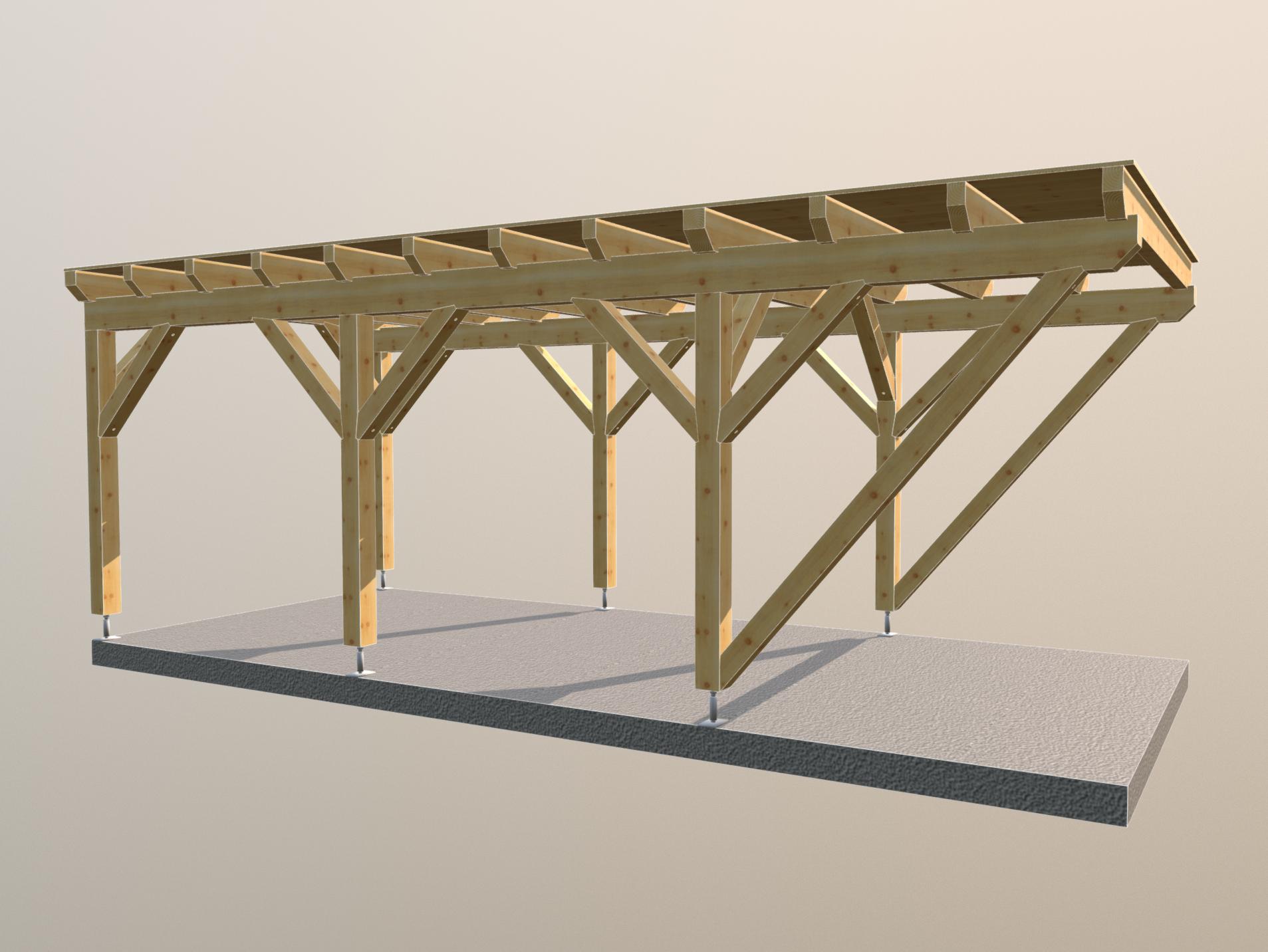 Holz carport 3m x7m flachdach, carports aus polen