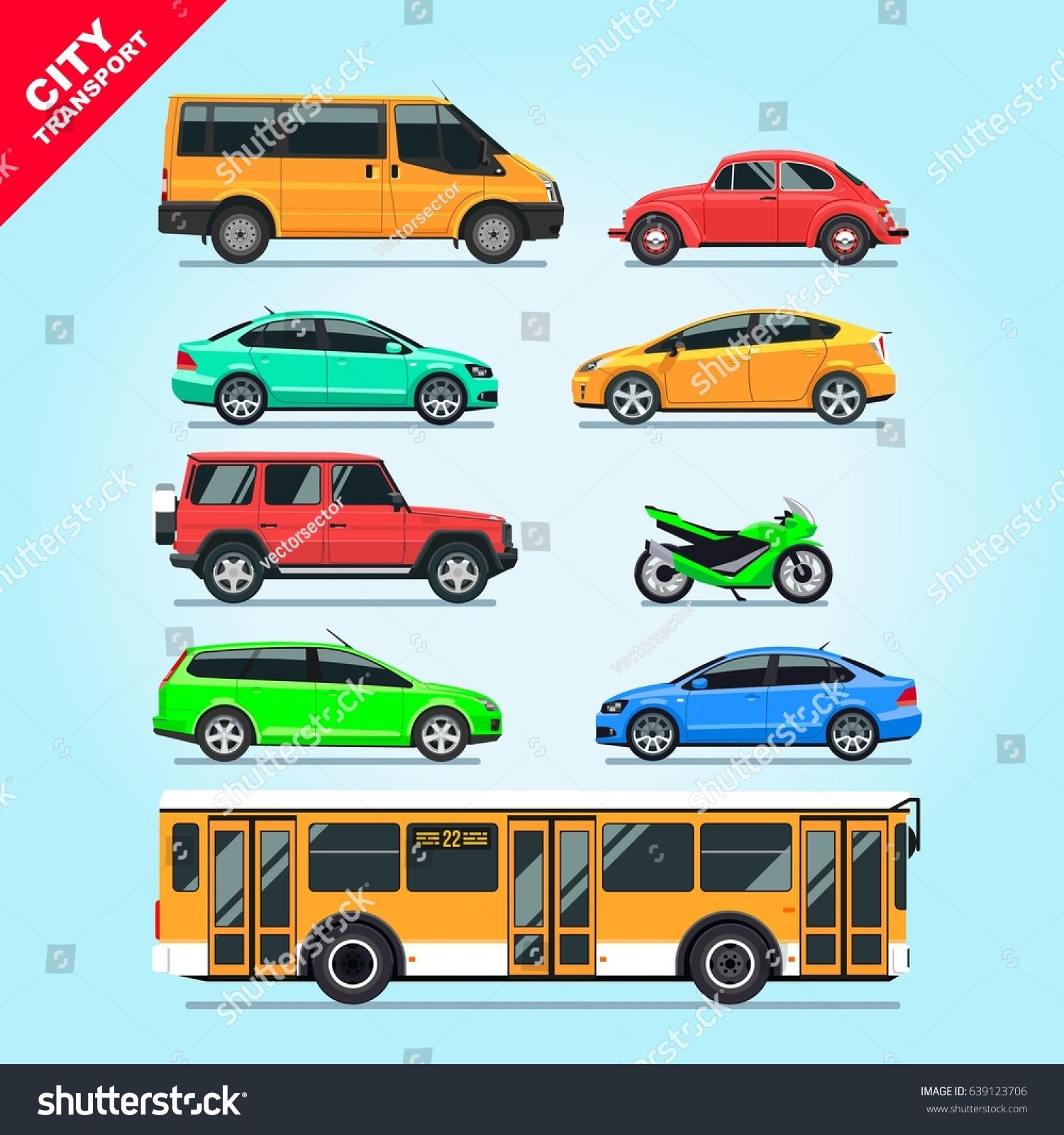 City Transport Set Flat Isolated Cars Motorcycle Van Bus Taxi On Blue Background Illustration Multicolore Transportation Layout Design Inspiration Toy Car
