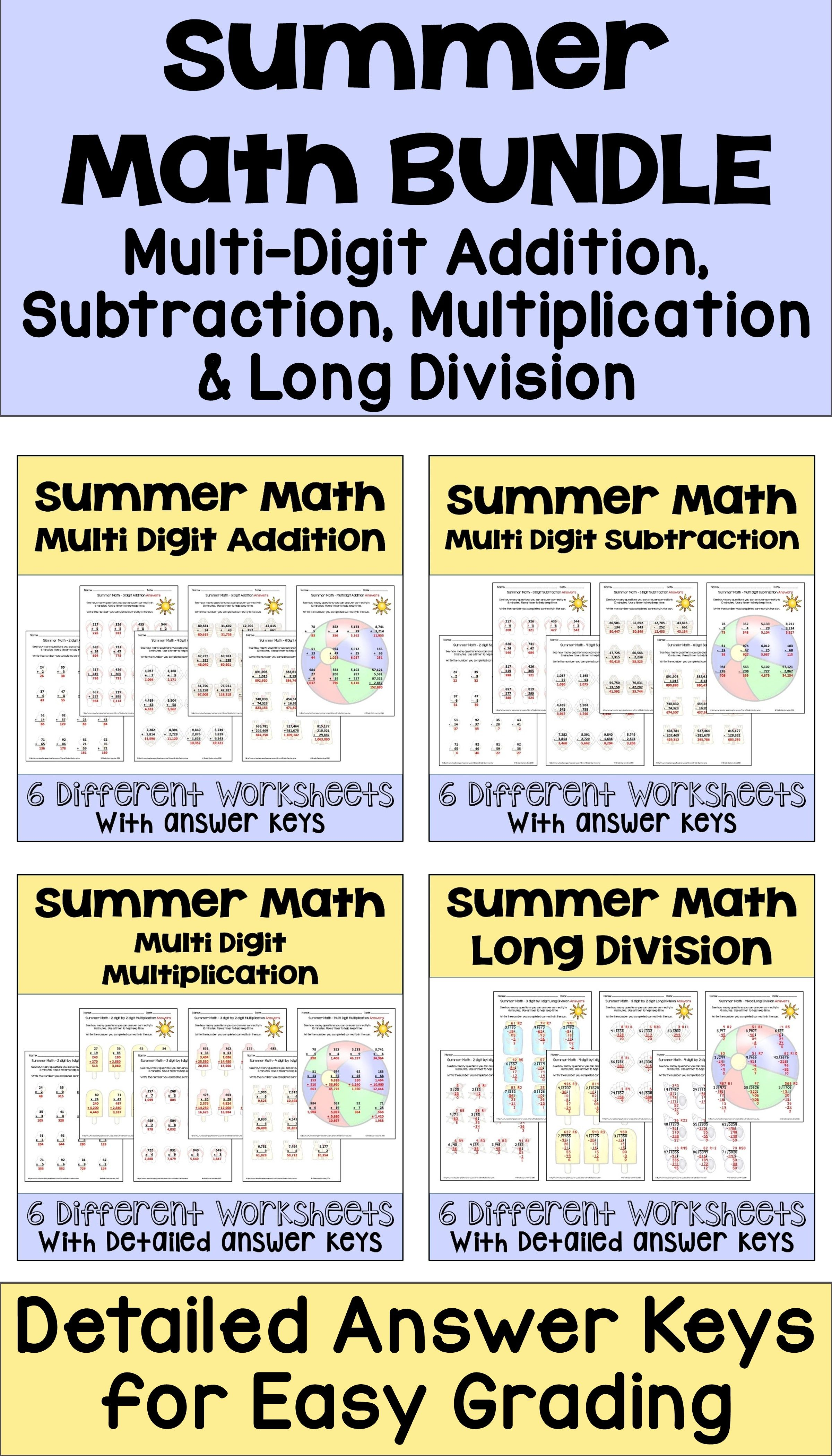 This Summer Math Bundle Features 24 Worksheets On Multi
