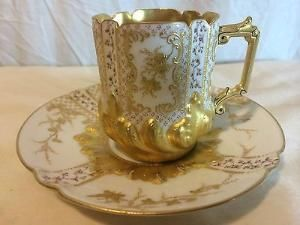 """Ornate Sevres Style Gold Gilt Cabinet Cup Saucer by lesa. """"Repinned by Keva xo""""."""