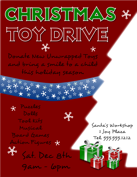 FlyerTutor Christmas Toy Drive Flyer Template  Donation Flyer Template