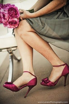 Fuchsia Bridesmaid Shoes And Peonies