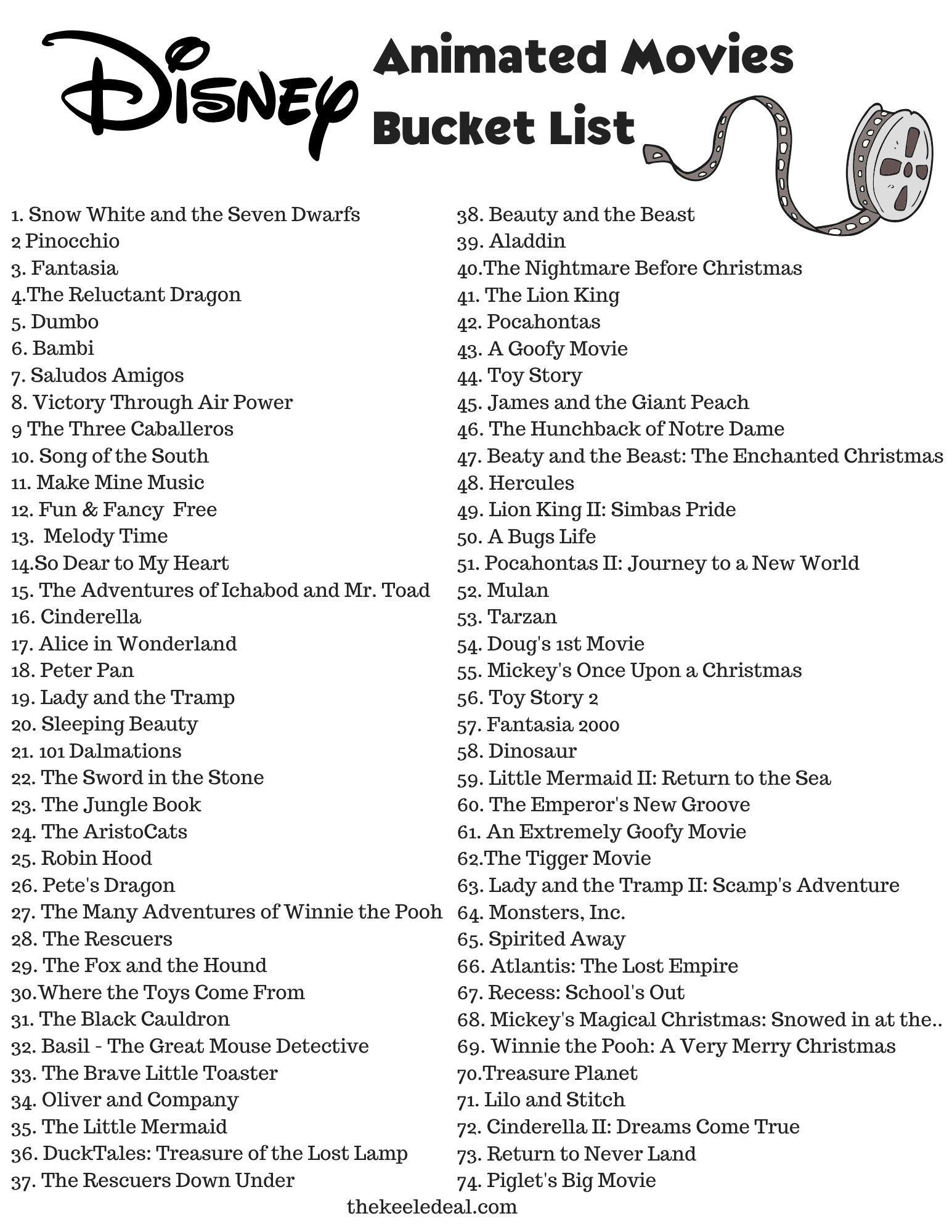 Disney Animated Movies Bucket List! {Free Printable