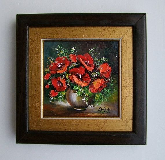 FRAMED Red Poppies Original Oil Painting Impasto by ArtistsUnion
