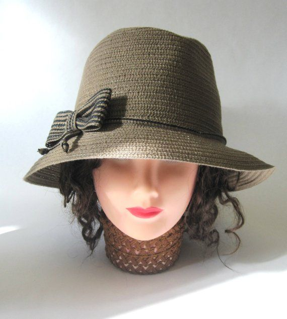 1c12d552d37a8 Brown Hat Taupe Cloche Millinery Womens Flapper Style