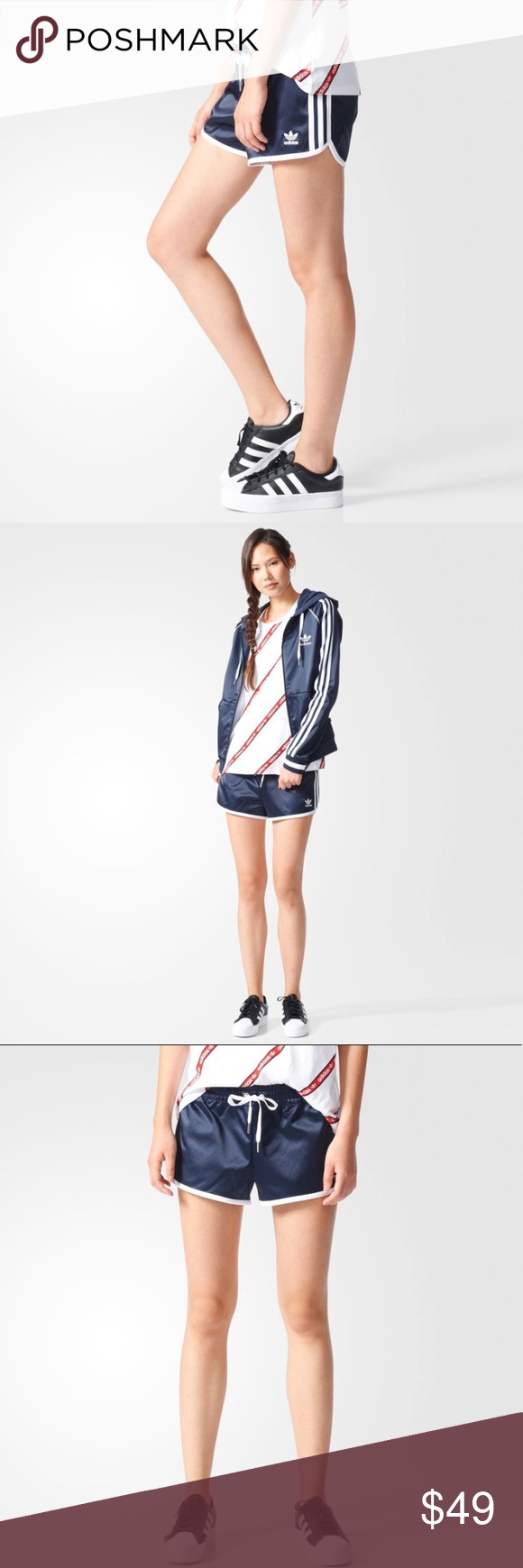 90f319f854 adidas Originals Women's Slim Shorts (BJ8372) New with Tags. Elastic waist  with drawcord Embroidered Trefoil logo on left leg 3-Stripes on sides Slim  fit ...
